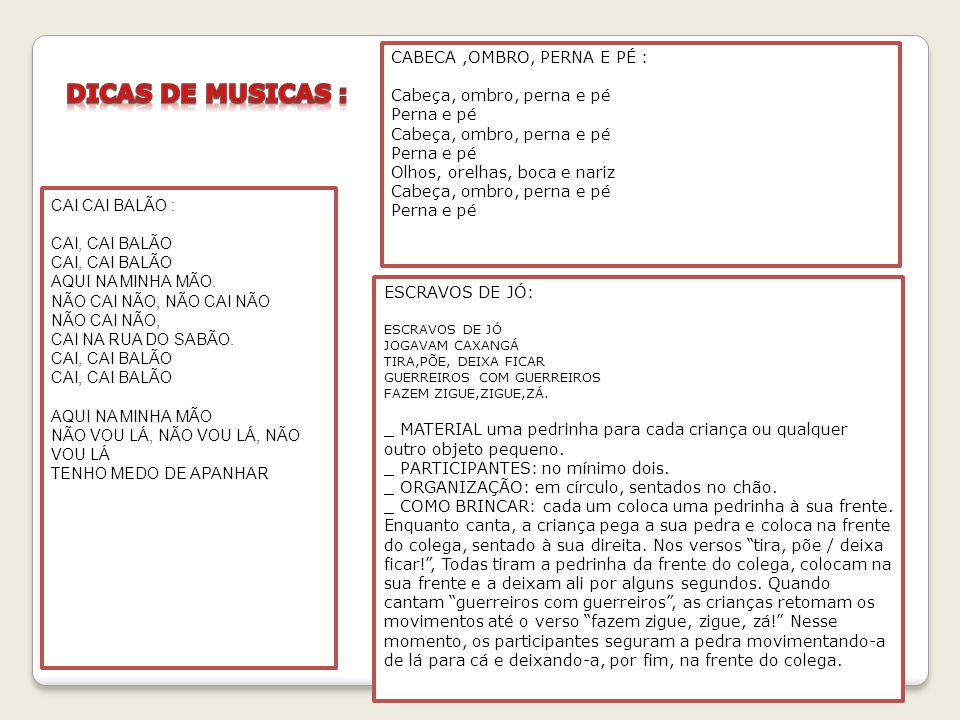 DICAS DE MUSICAS : CABECA ,OMBRO, PERNA E PÉ :