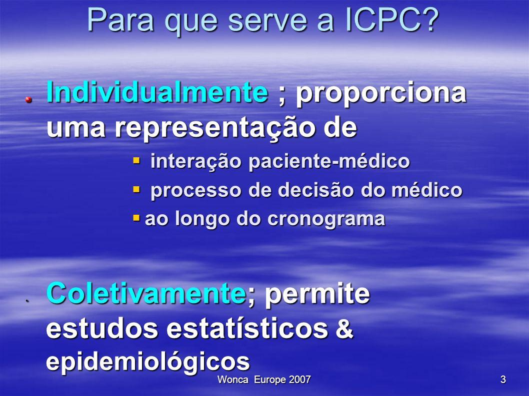 Para que serve a ICPC Individualmente ; proporciona uma representação de. interação paciente-médico.