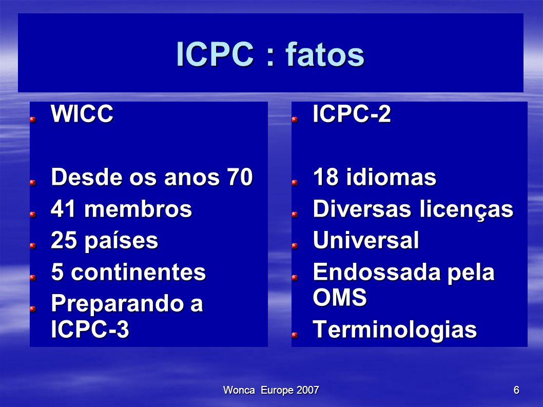ICPC : fatos WICC Desde os anos 70 41 membros 25 países 5 continentes