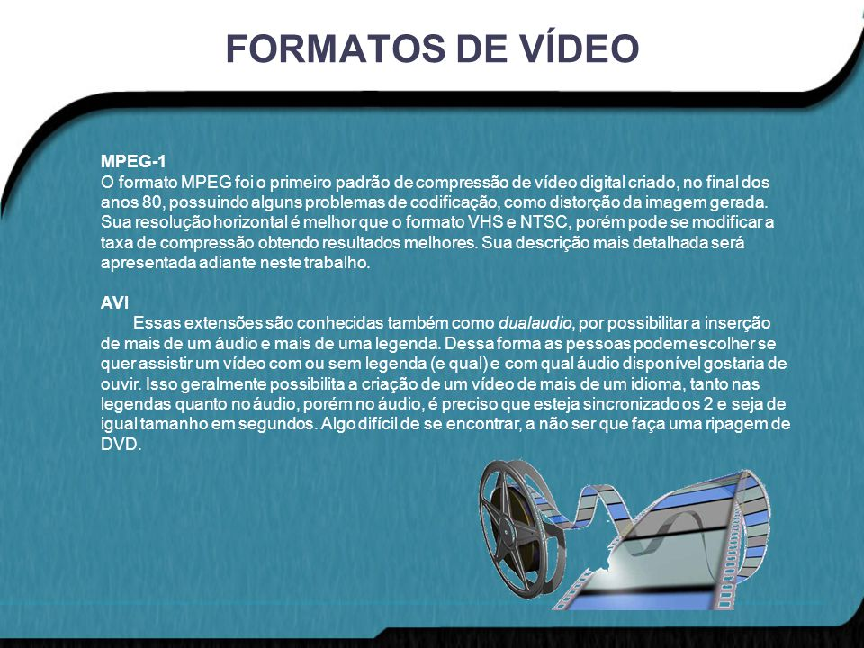 FORMATOS DE VÍDEO MPEG-1