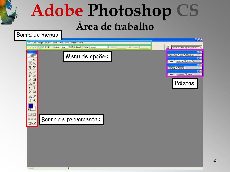 Adobe Photoshop CS Área de trabalho Barra de menus Menu de opções