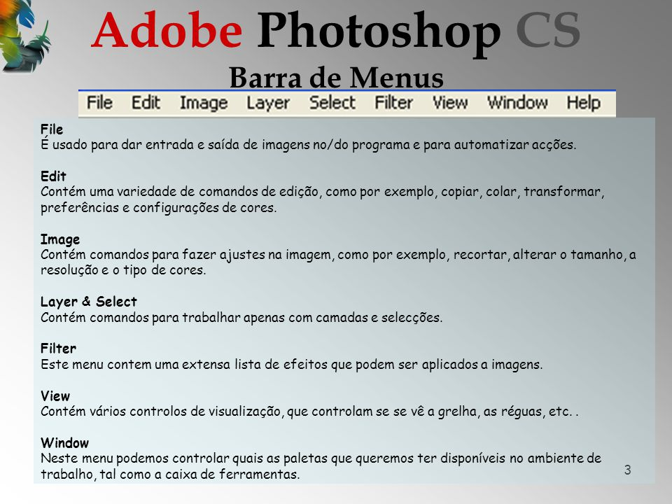Adobe Photoshop CS Barra de Menus