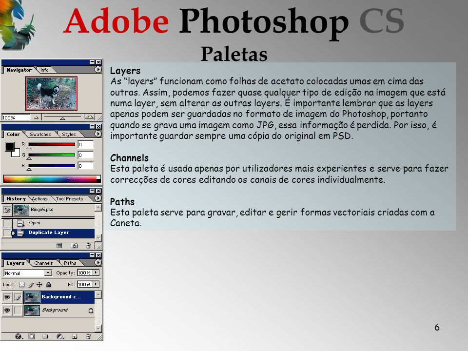 Adobe Photoshop CS Paletas Layers