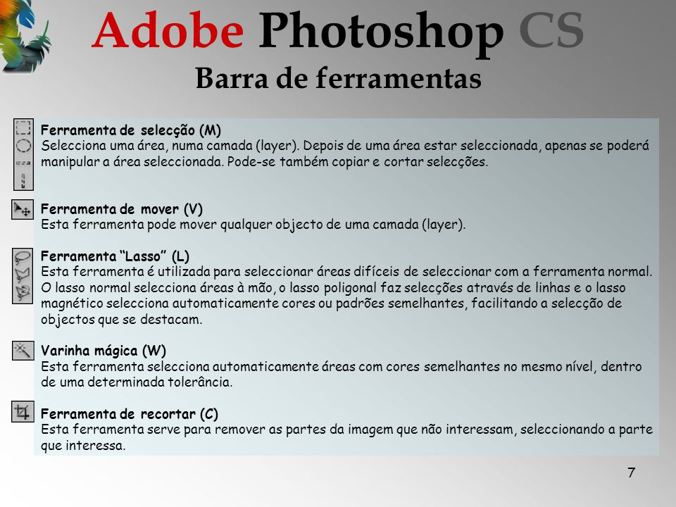 Adobe Photoshop CS Barra de ferramentas