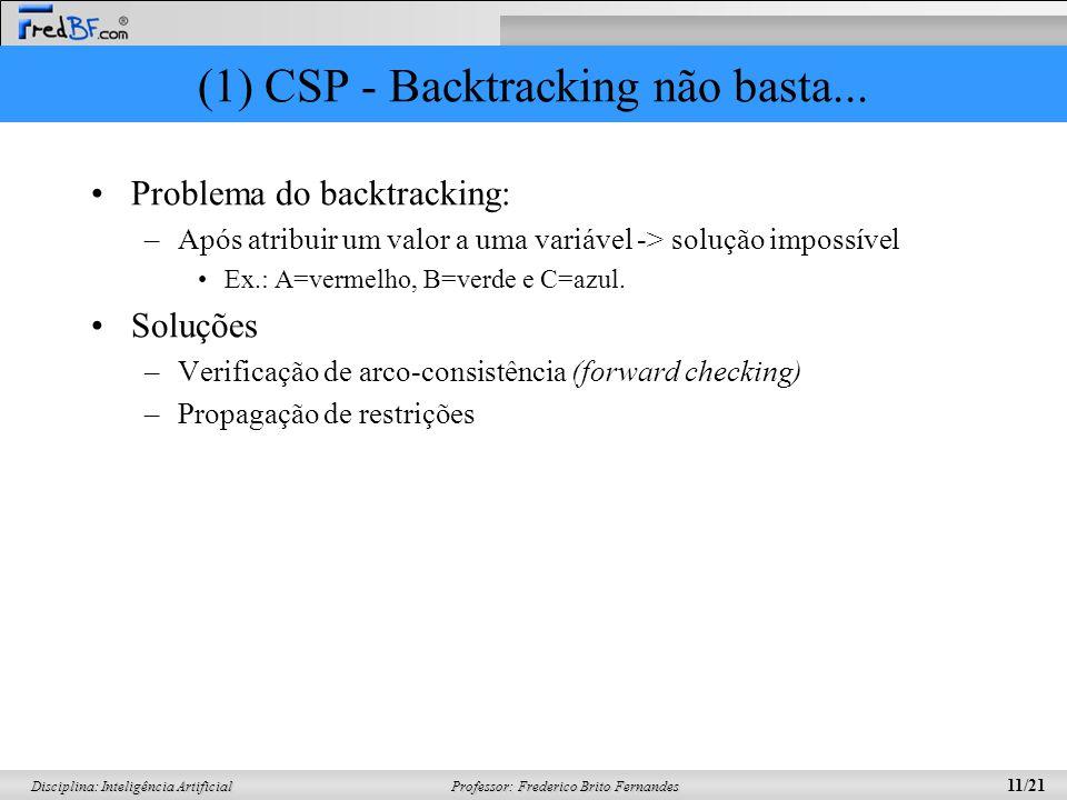 (1) CSP - Backtracking não basta...