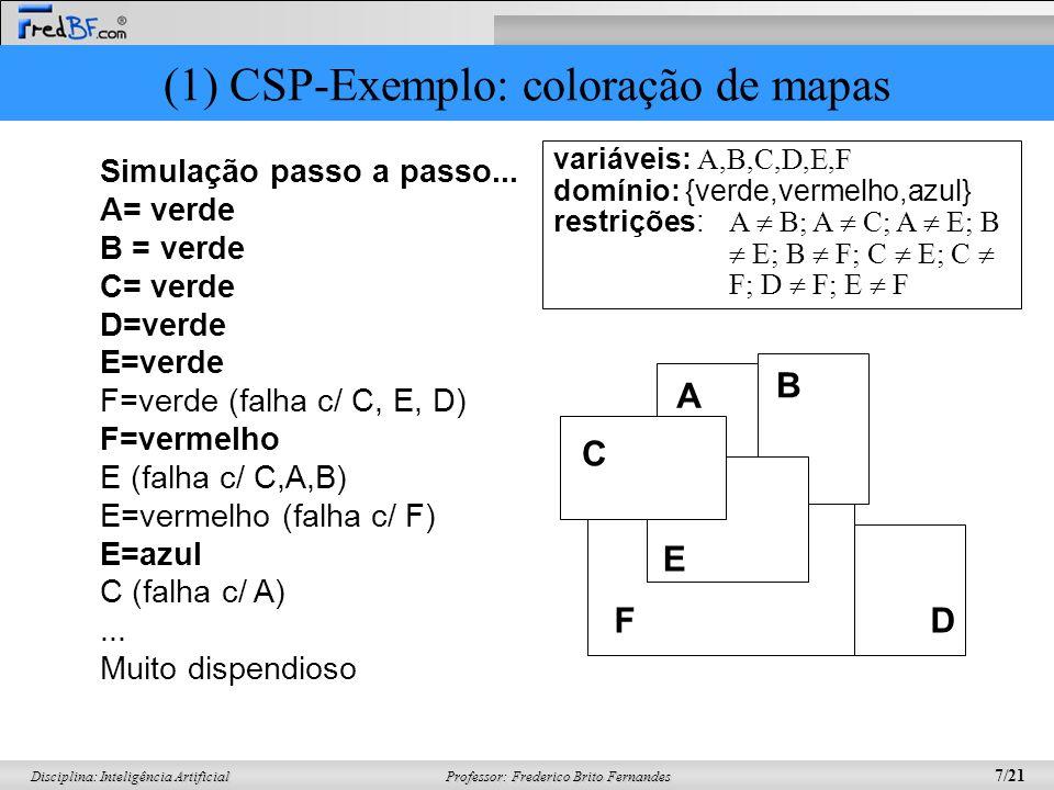 (1) CSP-Exemplo: coloração de mapas