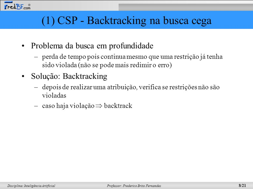 (1) CSP - Backtracking na busca cega
