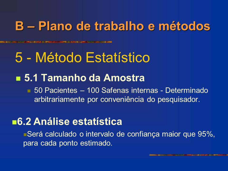 5 - Método Estatístico B – Plano de trabalho e métodos