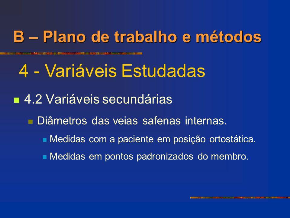 B – Plano de trabalho e métodos