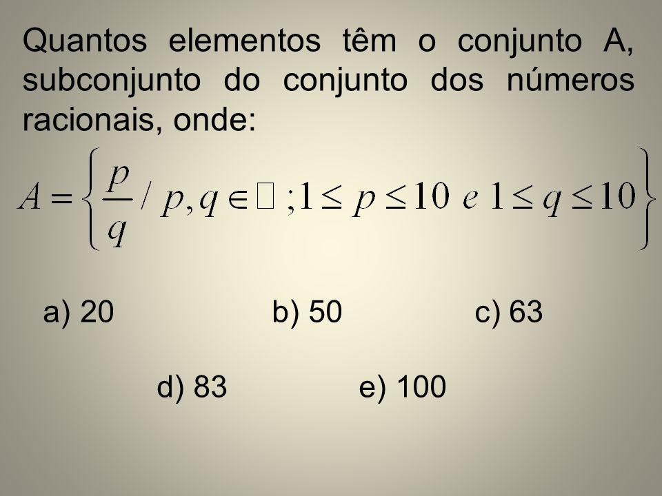 Quantos elementos têm o conjunto A, subconjunto do conjunto dos números racionais, onde: