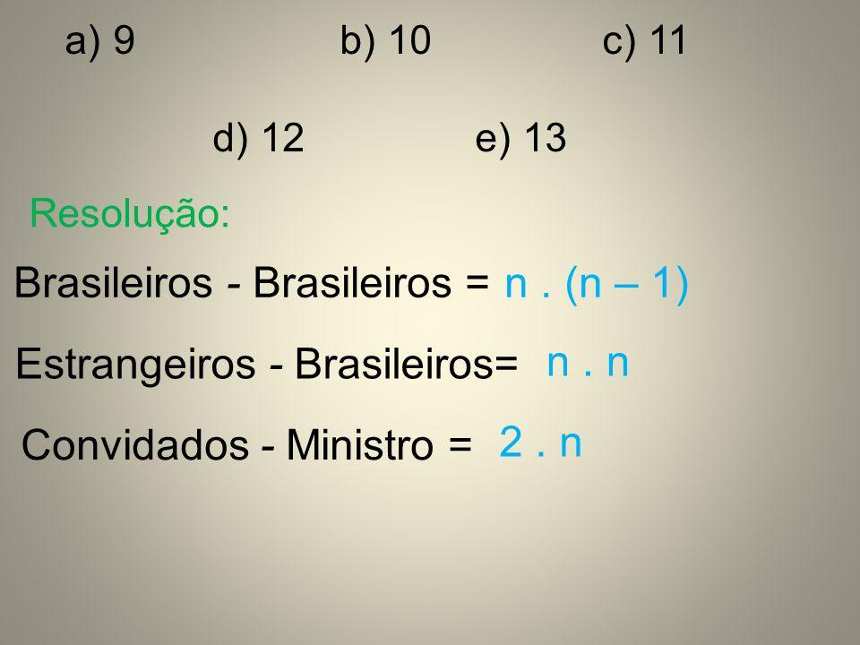 Brasileiros - Brasileiros = n . (n – 1)