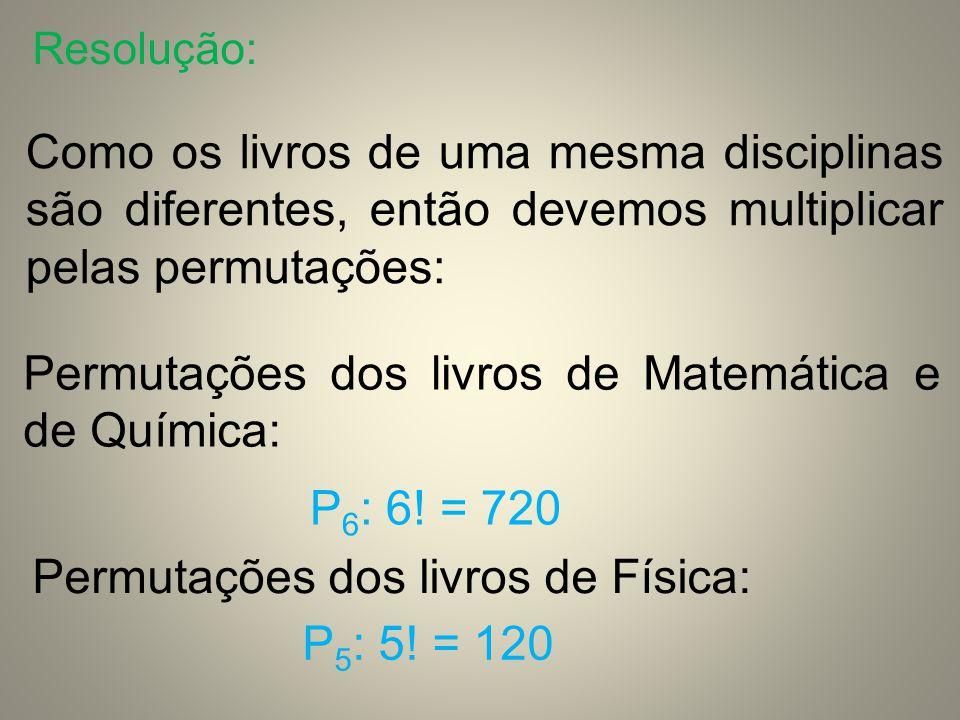 Permutações dos livros de Matemática e de Química: