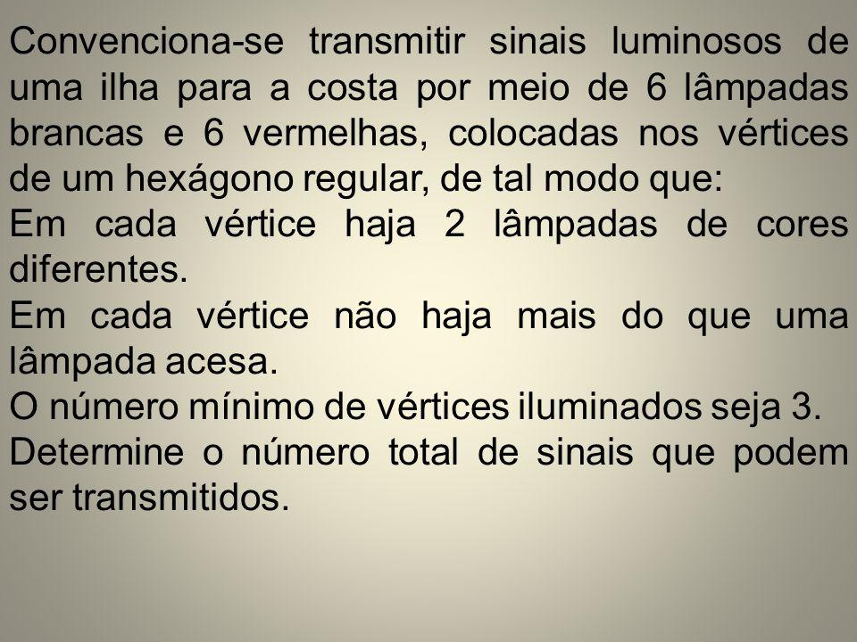 Convenciona-se transmitir sinais luminosos de uma ilha para a costa por meio de 6 lâmpadas brancas e 6 vermelhas, colocadas nos vértices de um hexágono regular, de tal modo que: