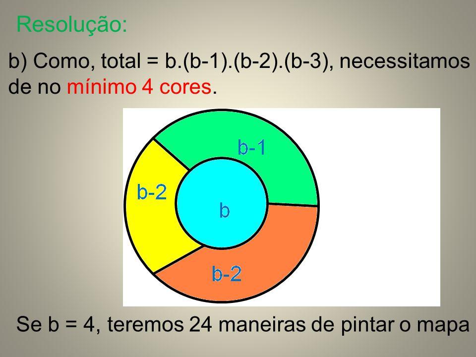 Resolução: b) Como, total = b.(b-1).(b-2).(b-3), necessitamos de no mínimo 4 cores.