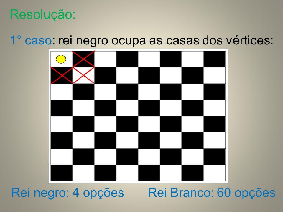 Resolução: 1° caso: rei negro ocupa as casas dos vértices: