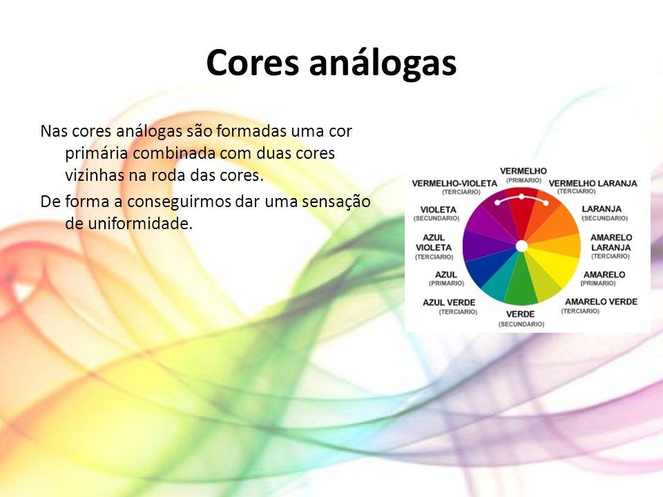 Cores análogas Nas cores análogas são formadas uma cor primária combinada com duas cores vizinhas na roda das cores.