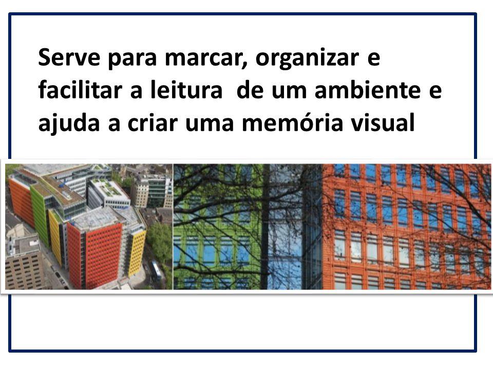 Serve para marcar, organizar e facilitar a leitura de um ambiente e ajuda a criar uma memória visual