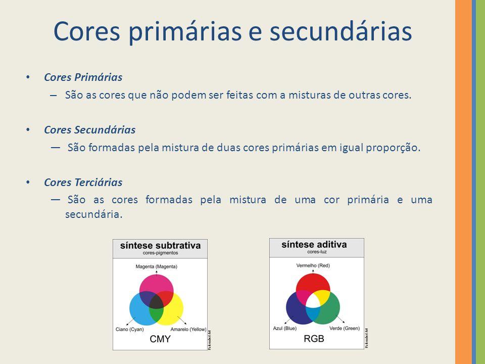 Cores primárias e secundárias
