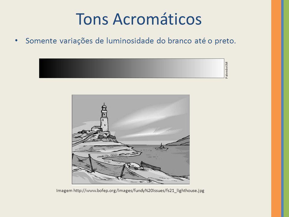 Tons Acromáticos Somente variações de luminosidade do branco até o preto. PalomboSM.