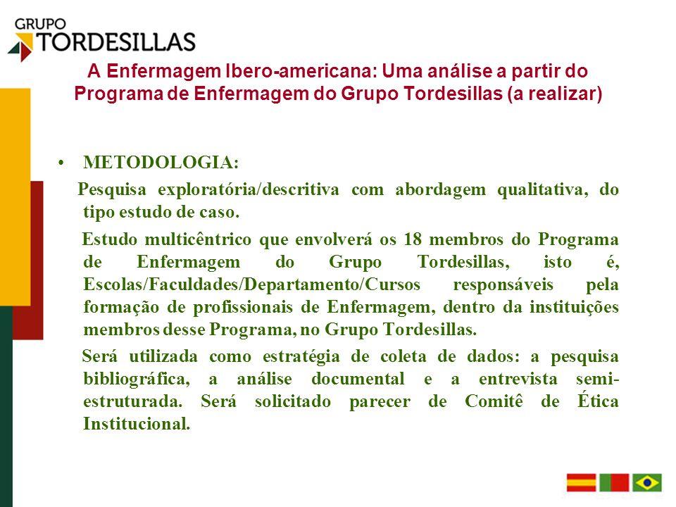 A Enfermagem Ibero-americana: Uma análise a partir do Programa de Enfermagem do Grupo Tordesillas (a realizar)