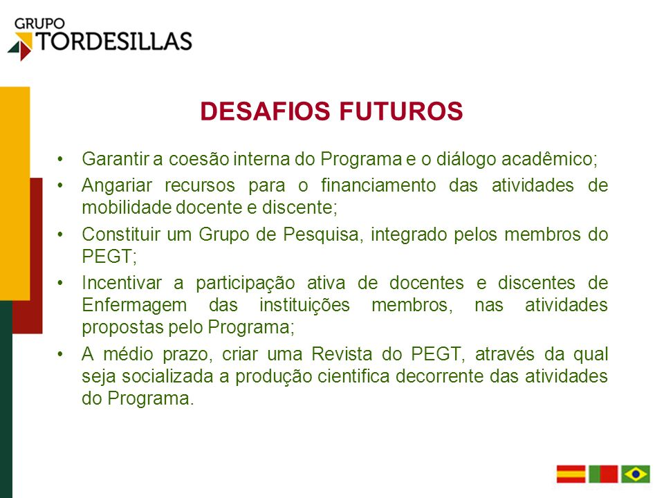 DESAFIOS FUTUROS Garantir a coesão interna do Programa e o diálogo acadêmico;