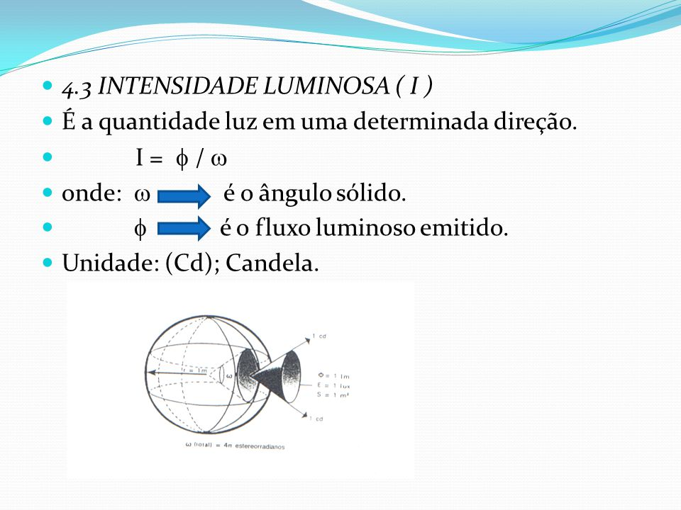 4.3 INTENSIDADE LUMINOSA ( I )