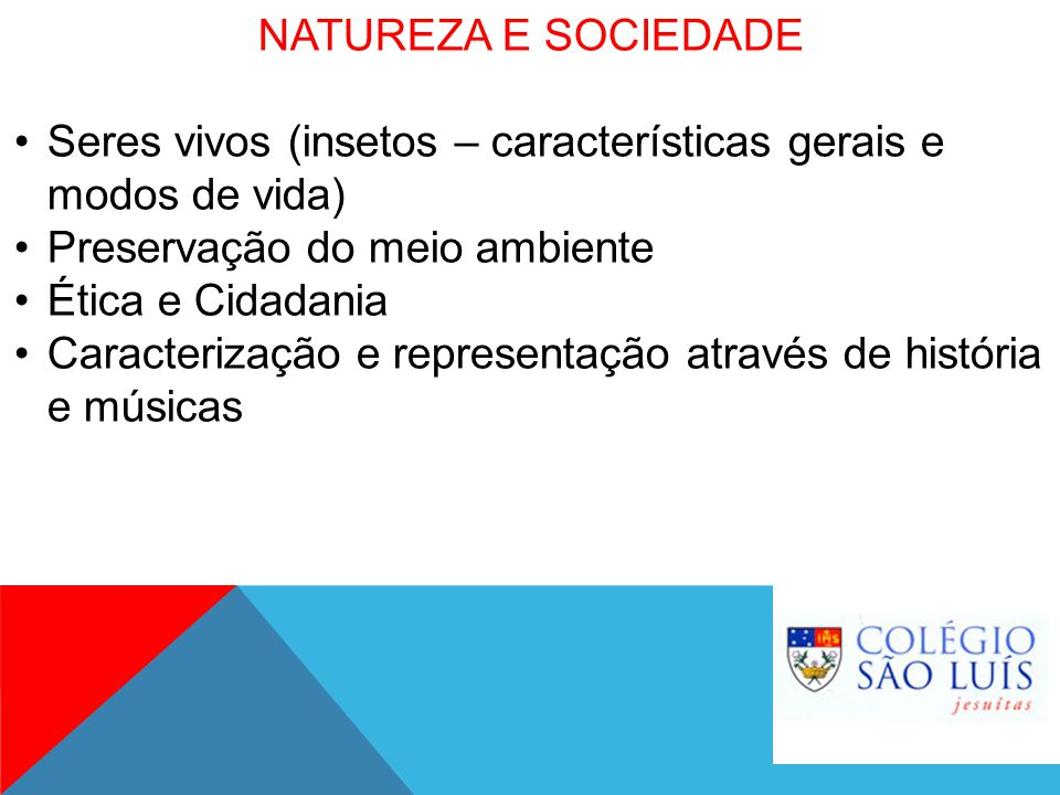 NATUREZA E SOCIEDADE Seres vivos (insetos – características gerais e modos de vida) Preservação do meio ambiente.