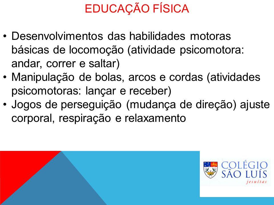 EDUCAÇÃO FÍSICA Desenvolvimentos das habilidades motoras básicas de locomoção (atividade psicomotora: andar, correr e saltar)