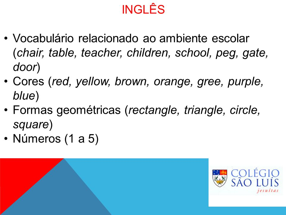 INGLÊS Vocabulário relacionado ao ambiente escolar (chair, table, teacher, children, school, peg, gate, door)