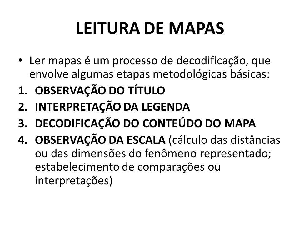 LEITURA DE MAPAS Ler mapas é um processo de decodificação, que envolve algumas etapas metodológicas básicas:
