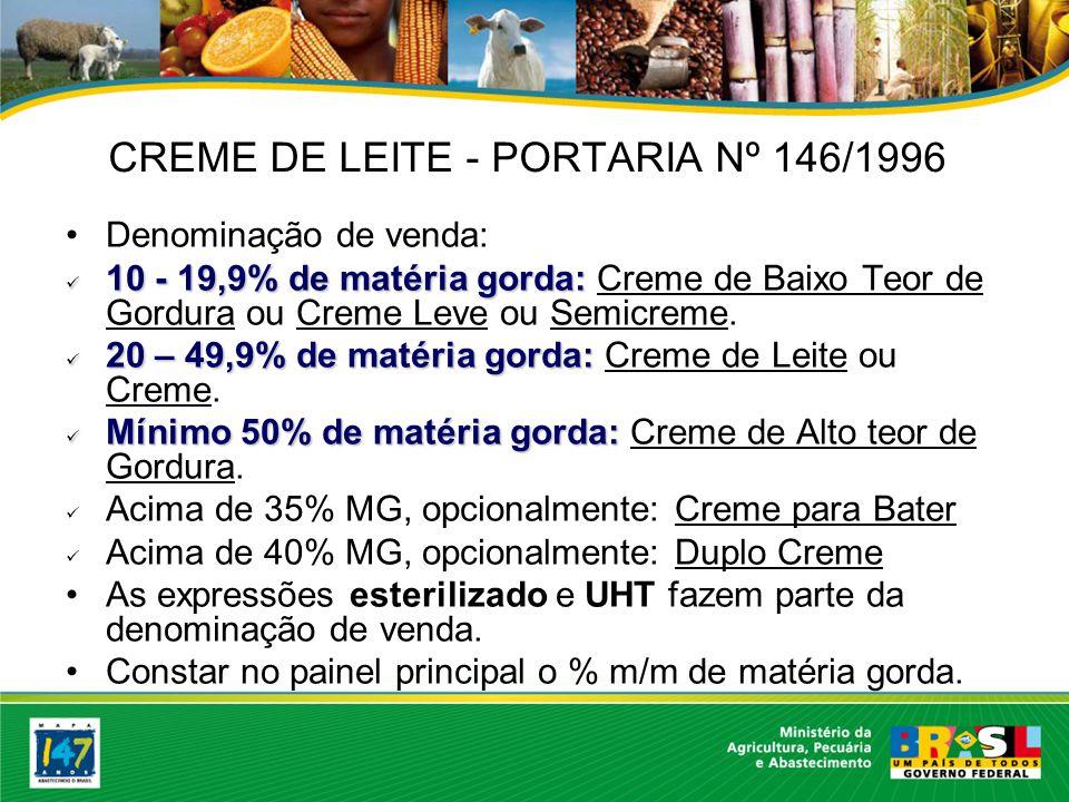 CREME DE LEITE - PORTARIA Nº 146/1996
