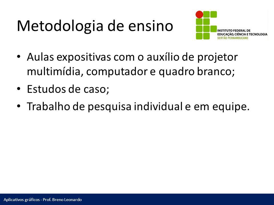 Metodologia de ensino Aulas expositivas com o auxílio de projetor multimídia, computador e quadro branco;