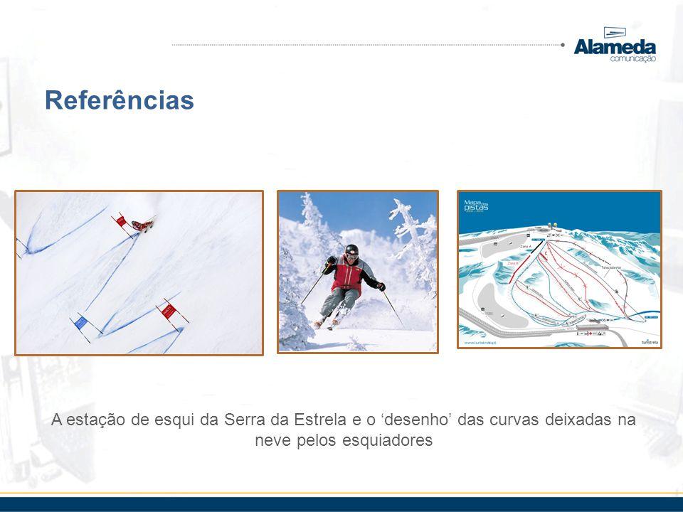 Referências A estação de esqui da Serra da Estrela e o 'desenho' das curvas deixadas na neve pelos esquiadores.