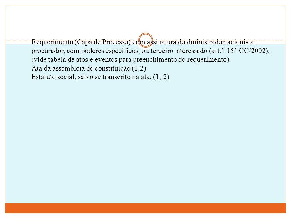 Requerimento (Capa de Processo) com assinatura do dministrador, acionista, procurador, com poderes específicos, ou terceiro nteressado (art.1.151 CC/2002), (vide tabela de atos e eventos para preenchimento do requerimento).