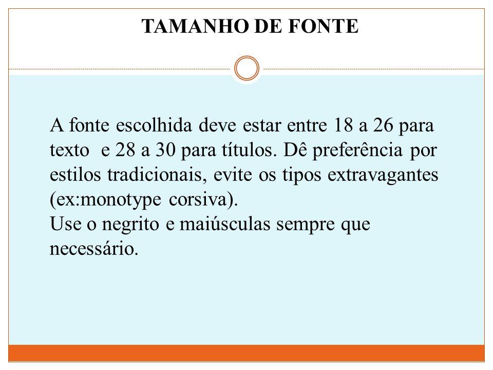 TAMANHO DE FONTE