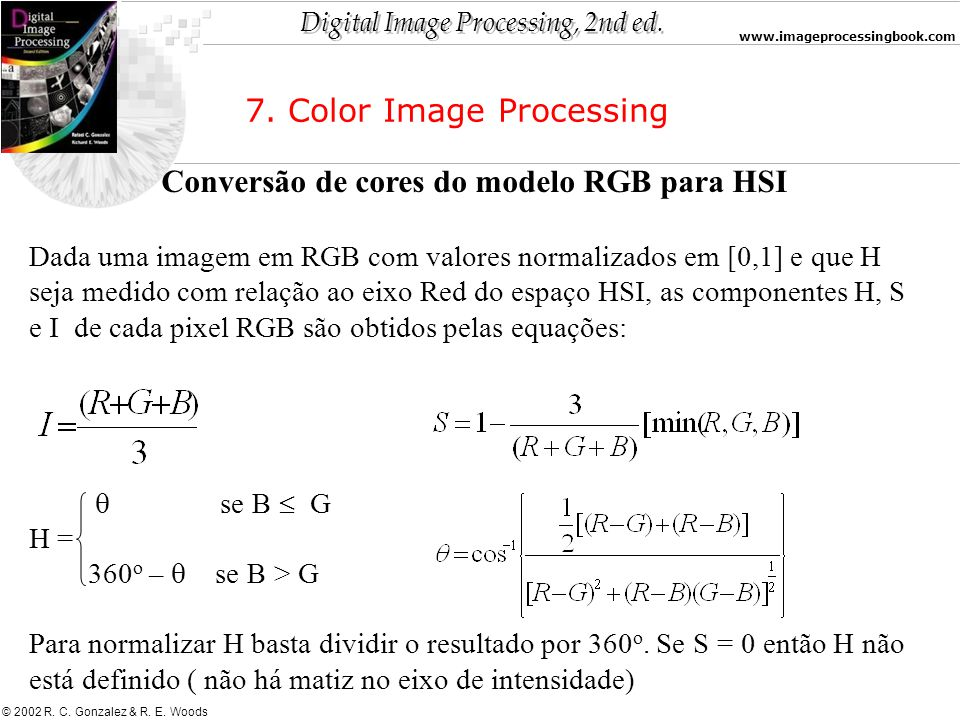 Conversão de cores do modelo RGB para HSI