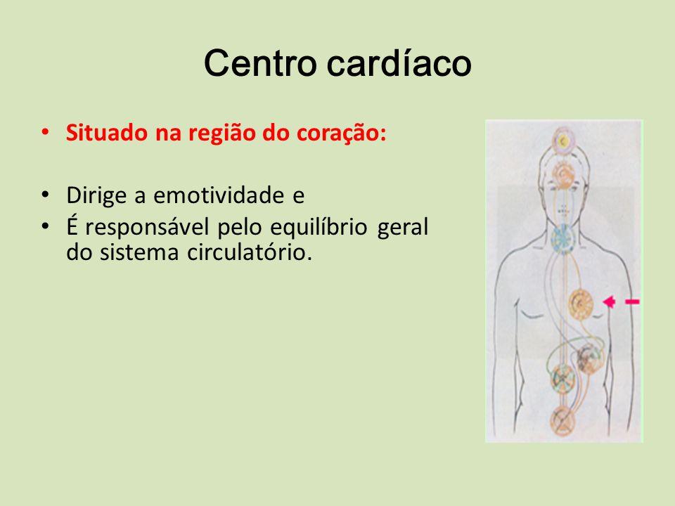 Centro cardíaco Situado na região do coração: Dirige a emotividade e