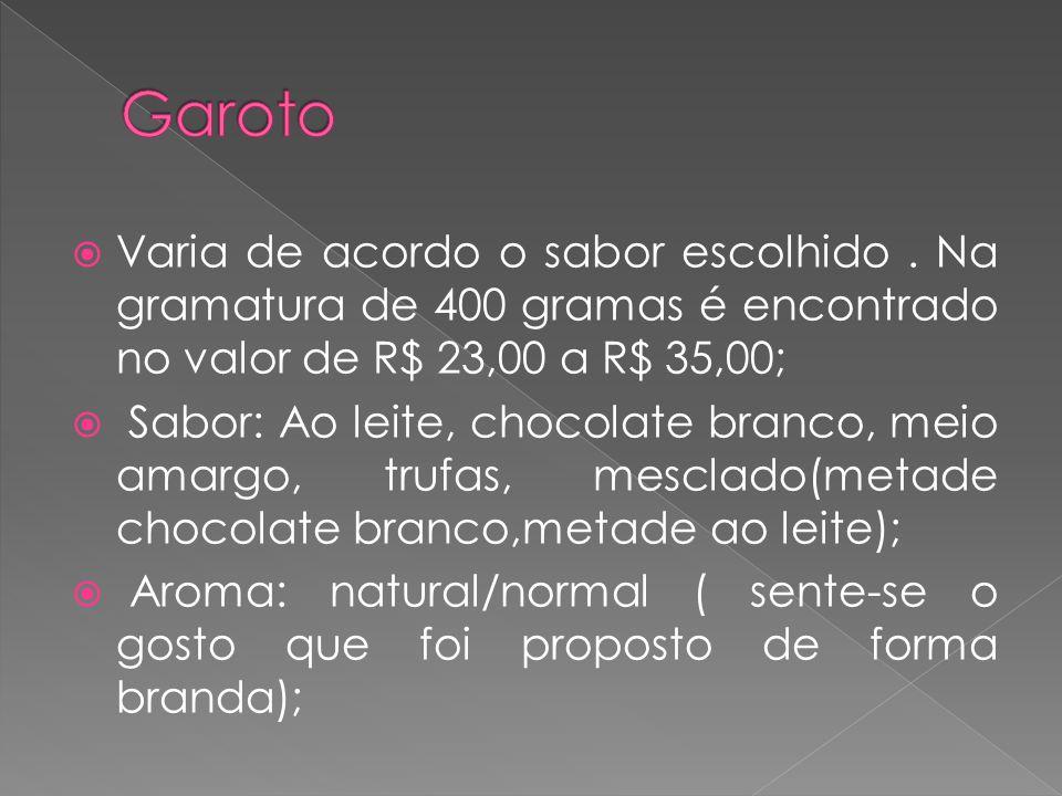 Garoto Varia de acordo o sabor escolhido . Na gramatura de 400 gramas é encontrado no valor de R$ 23,00 a R$ 35,00;