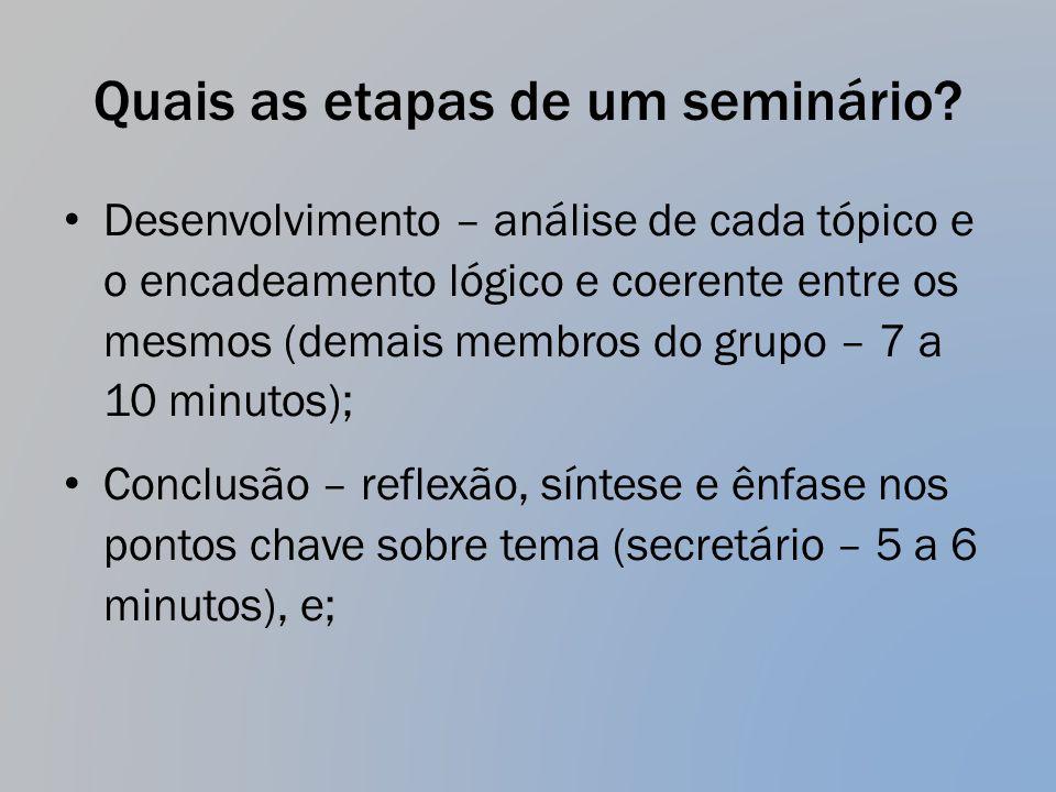 Quais as etapas de um seminário