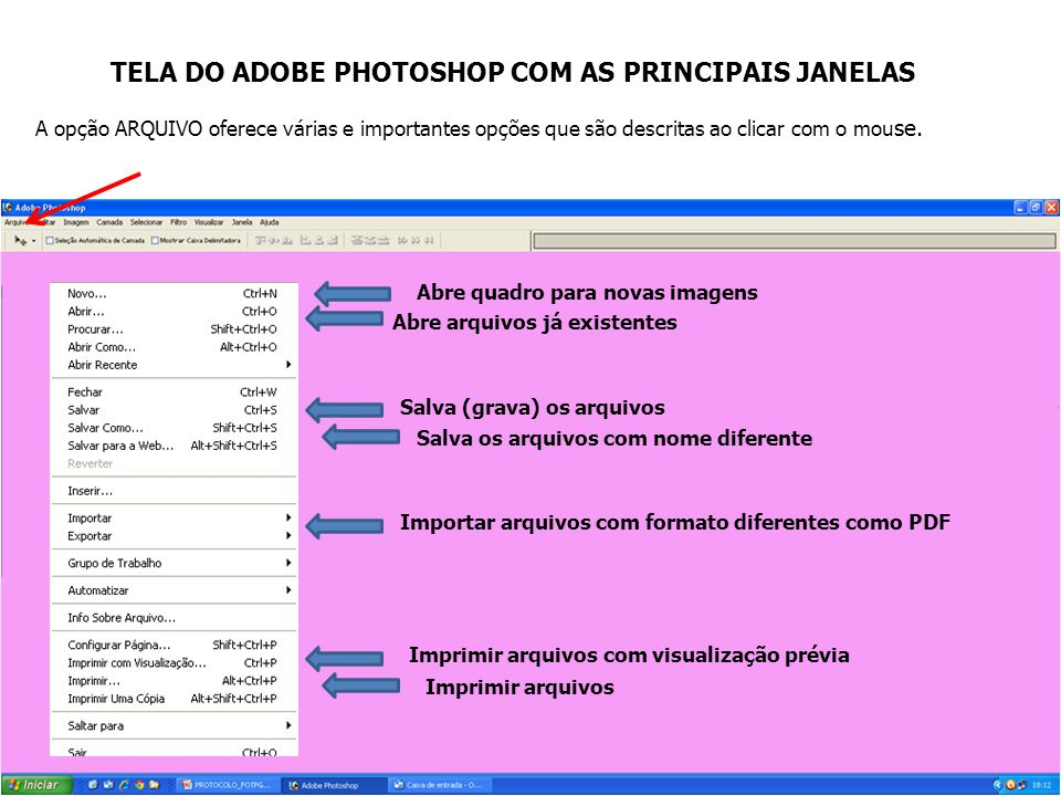 TELA DO ADOBE PHOTOSHOP COM AS PRINCIPAIS JANELAS