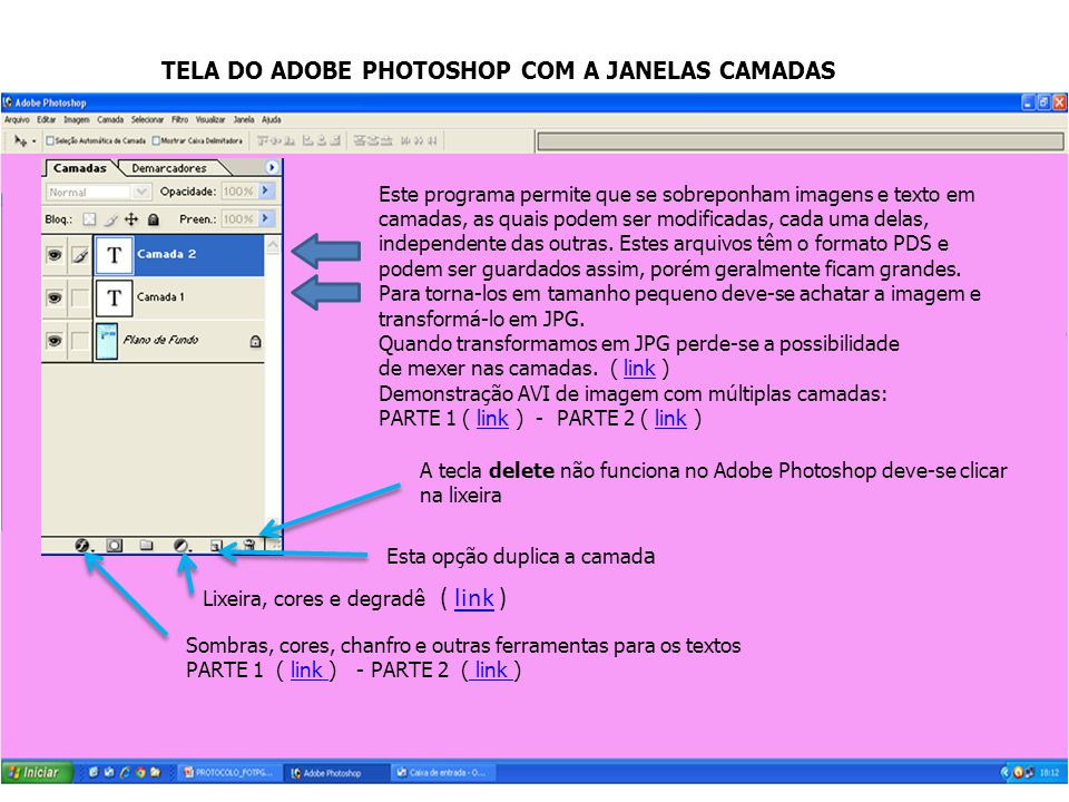 TELA DO ADOBE PHOTOSHOP COM A JANELAS CAMADAS
