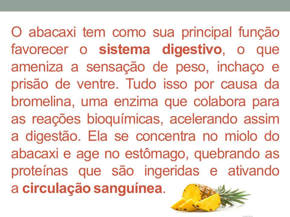 O abacaxi tem como sua principal função favorecer o sistema digestivo, o que ameniza a sensação de peso, inchaço e prisão de ventre.
