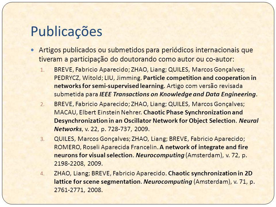 Publicações Artigos publicados ou submetidos para periódicos internacionais que tiveram a participação do doutorando como autor ou co-autor: