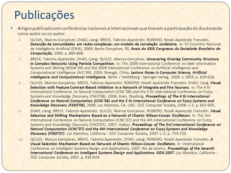 Publicações Artigos publicados em conferências nacionais e internacionais que tiveram a participação do doutorando como autor ou co-autor:
