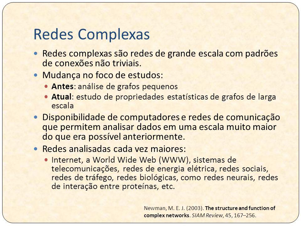 Redes Complexas Redes complexas são redes de grande escala com padrões de conexões não triviais. Mudança no foco de estudos: