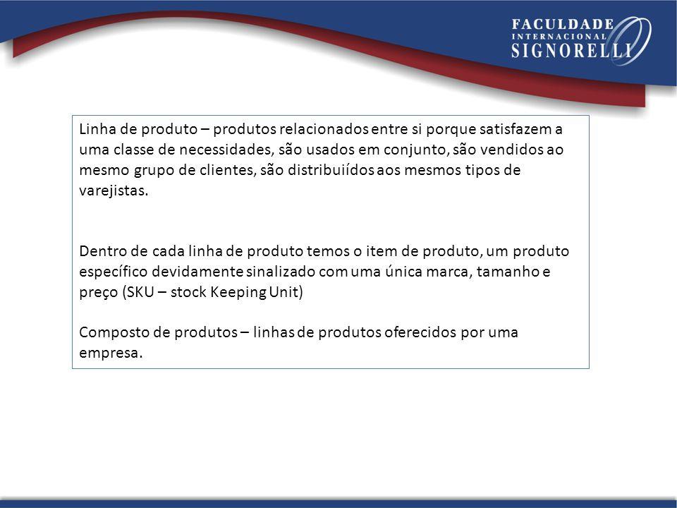 Linha de produto – produtos relacionados entre si porque satisfazem a uma classe de necessidades, são usados em conjunto, são vendidos ao mesmo grupo de clientes, são distribuiídos aos mesmos tipos de varejistas.