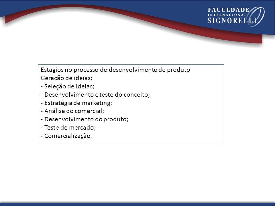 Estágios no processo de desenvolvimento de produto