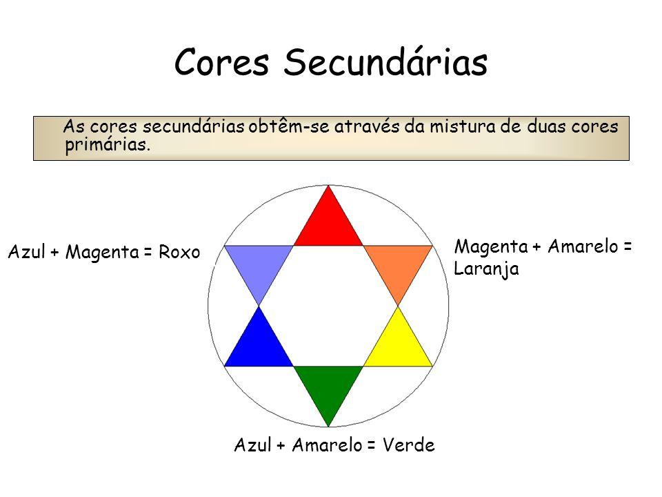 Cores Secundárias As cores secundárias obtêm-se através da mistura de duas cores primárias. Magenta + Amarelo = Laranja.