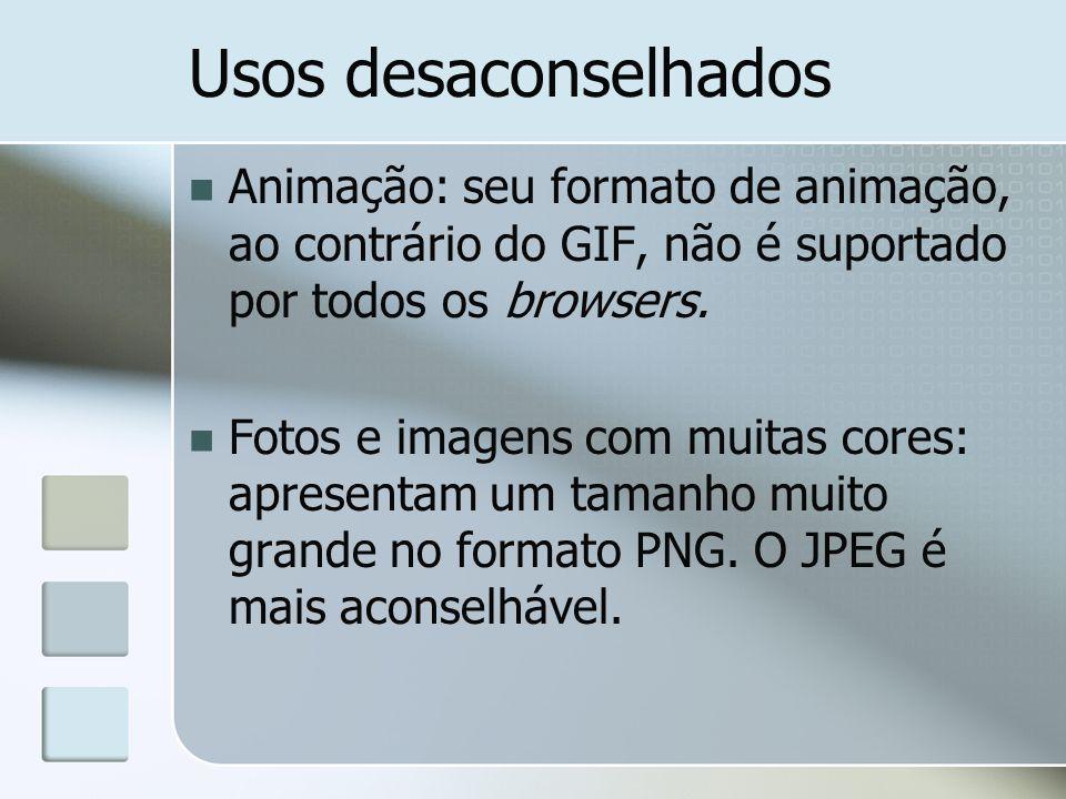 Usos desaconselhados Animação: seu formato de animação, ao contrário do GIF, não é suportado por todos os browsers.