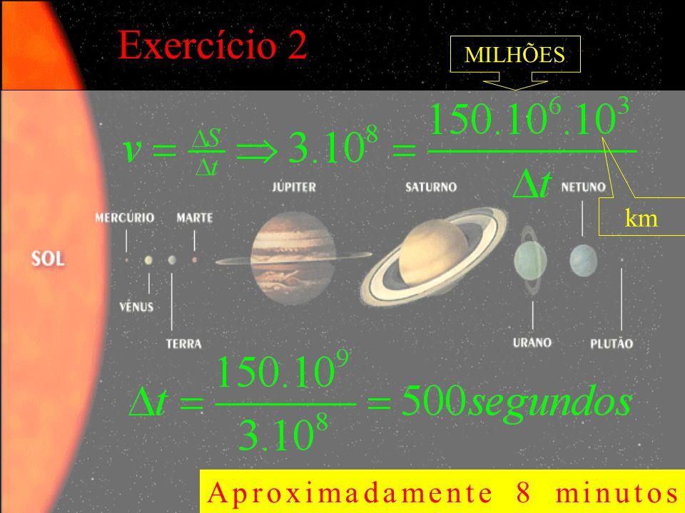 Exercício 2 MILHÕES km Aproximadamente 8 minutos